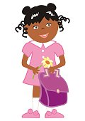 girl and school bag and flower, vector illustration