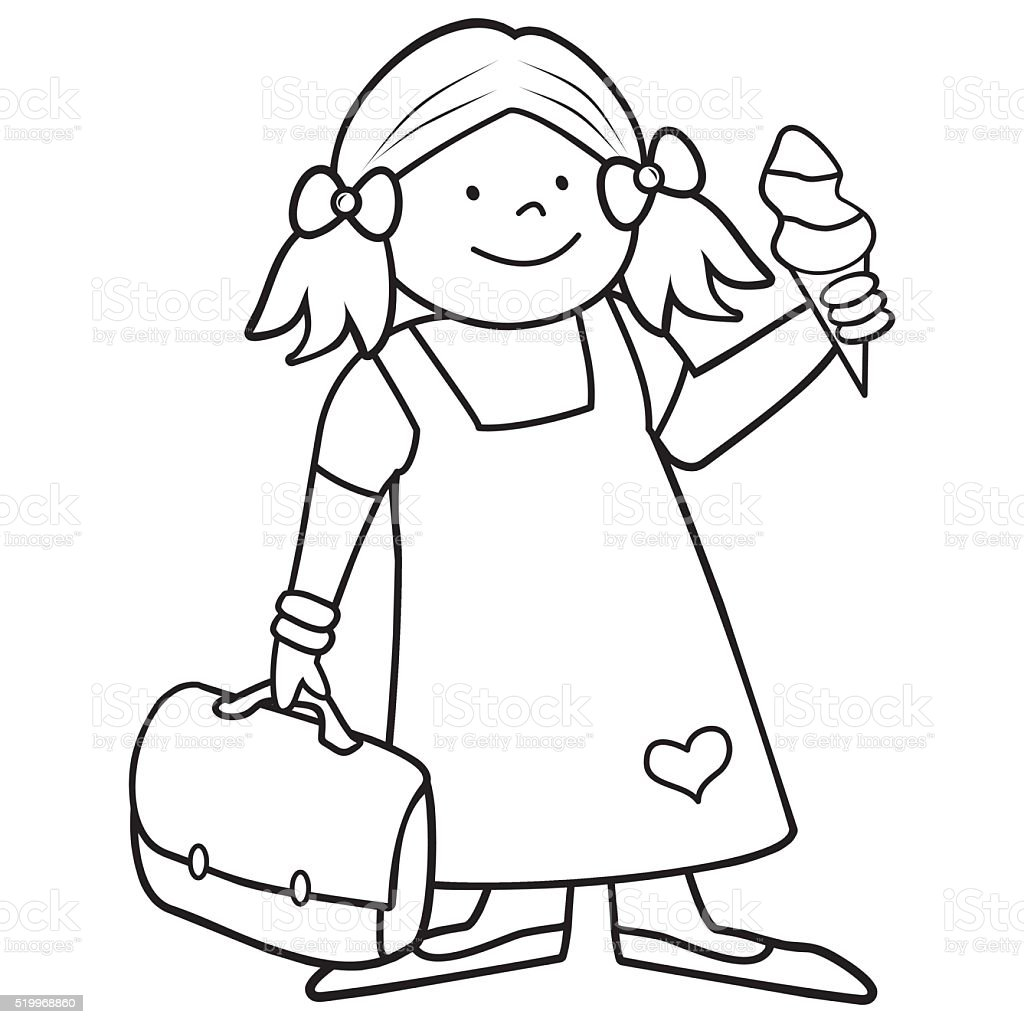 Girl And Schoolbag Coloring Book Stock Vector Art & More Images of ...