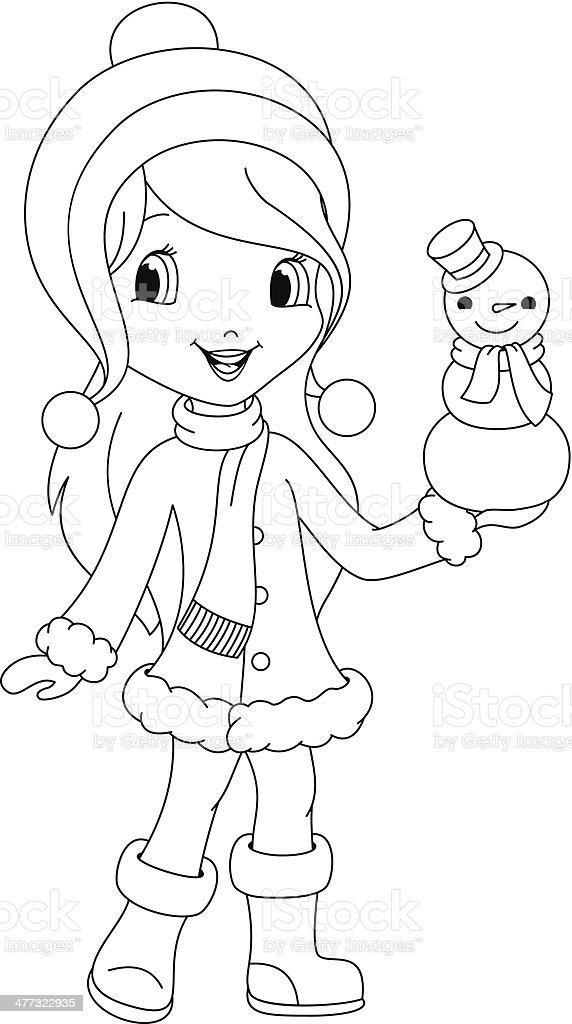 Ilustración de Niña Para Colorear Página Y Muñeco De Nieve y más ...