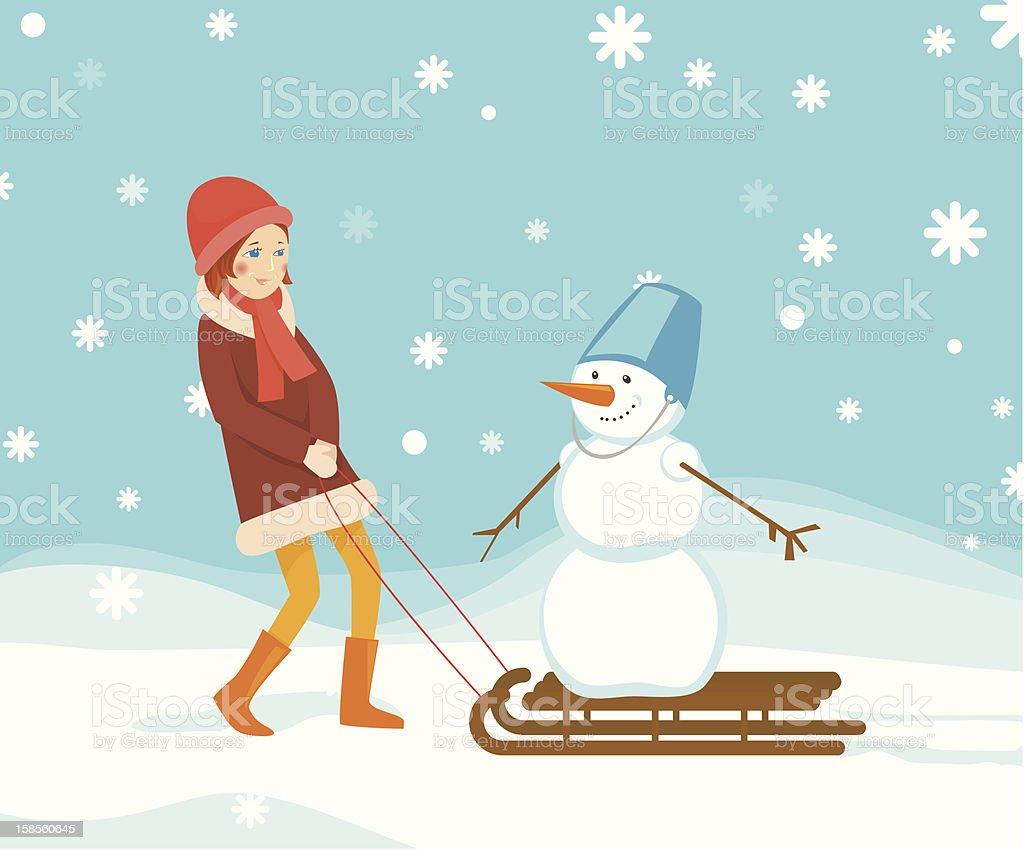 여자아이 및 눈사람 royalty-free 여자아이 및 눈사람 겨울에 대한 스톡 벡터 아트 및 기타 이미지