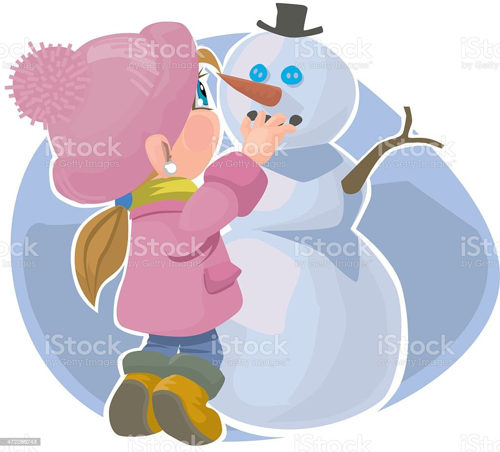 girl and snowman royalty-free stock vector art