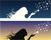 Ilustration of a young girl spreading stars