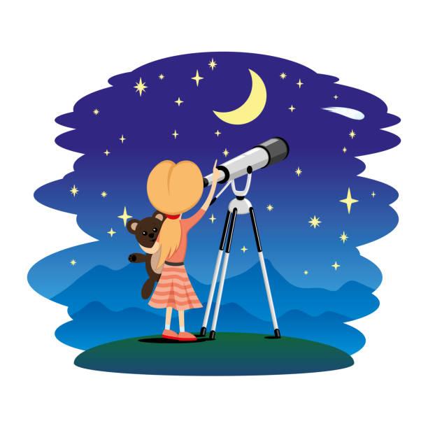 mädchen und teleskop. - sternwarte stock-grafiken, -clipart, -cartoons und -symbole