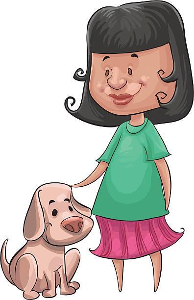 여자아이 및 경견 - 강아지 실루엣 stock illustrations
