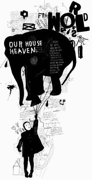 mädchen und der elefant - kindersprüche stock-grafiken, -clipart, -cartoons und -symbole