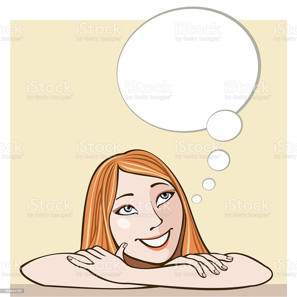 Girl and thought bubble royalty-free stock vector art
