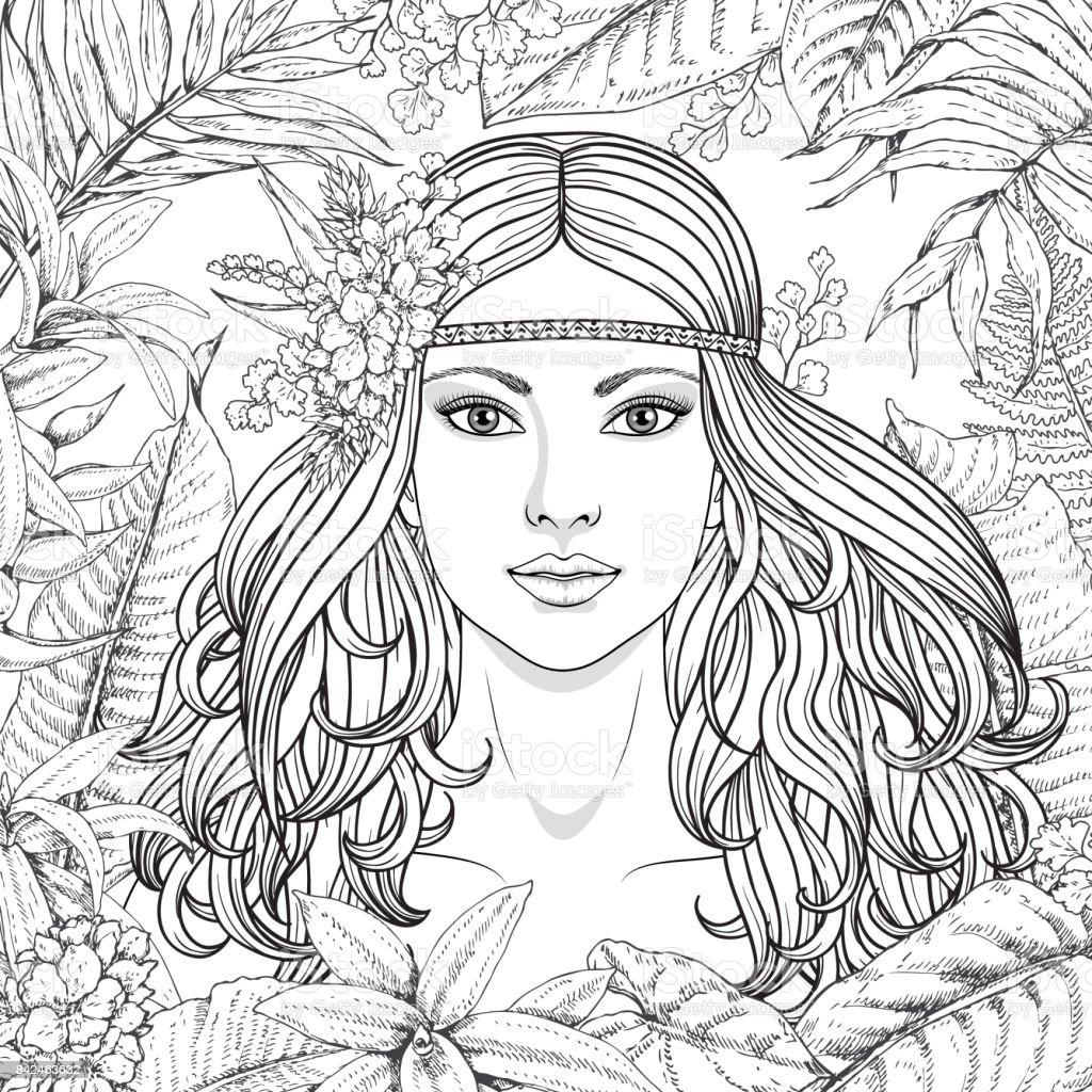 Plantas tropicais e de menina - ilustração de arte em vetor