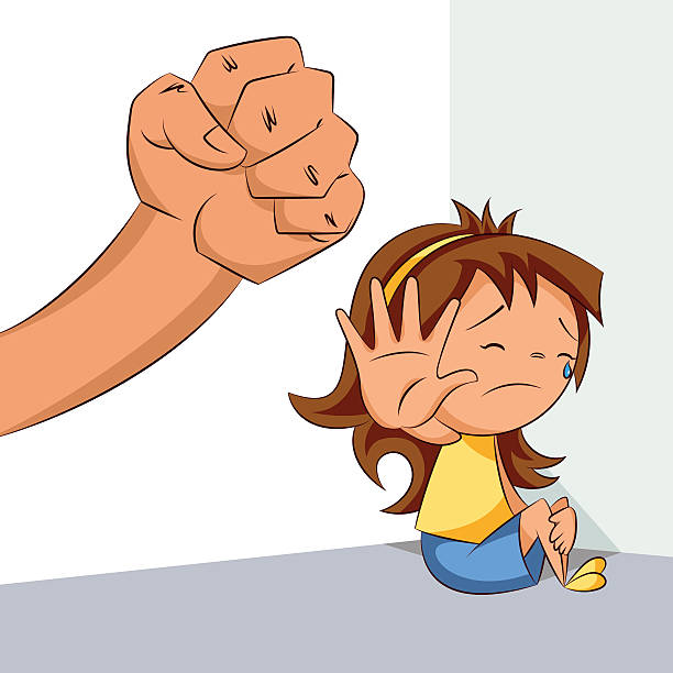 girl and violence - child abuse stock illustrations