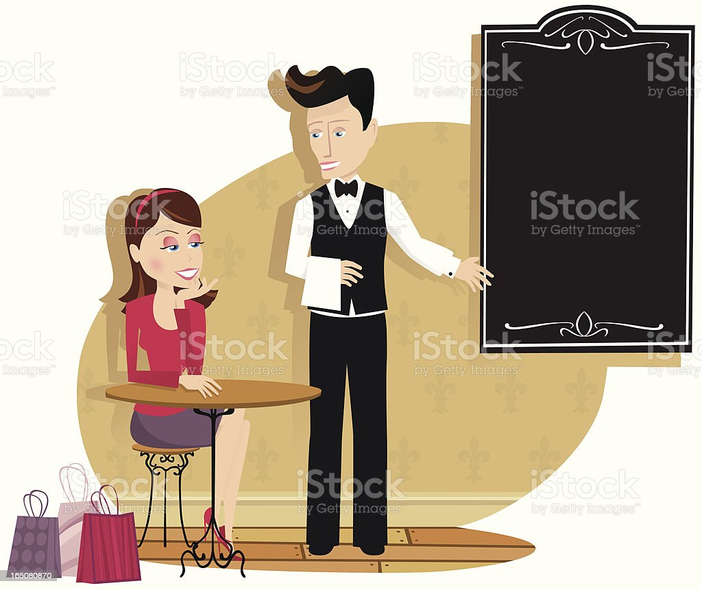 Girl and waiter in cafe restaurant royalty-free girl and waiter in cafe restaurant stock vector art & more images of adult