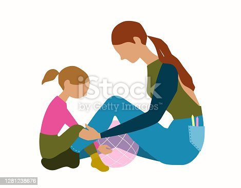 istock Girl and young woman playing 1281238676