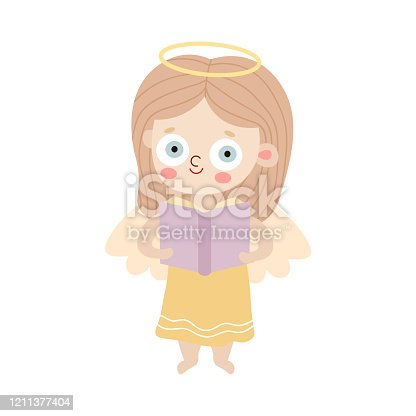 Hand drawn small blond smiling girl angel with wings and halo standing and holding book in hands over white background vector illustration. Happy children illustrations concept