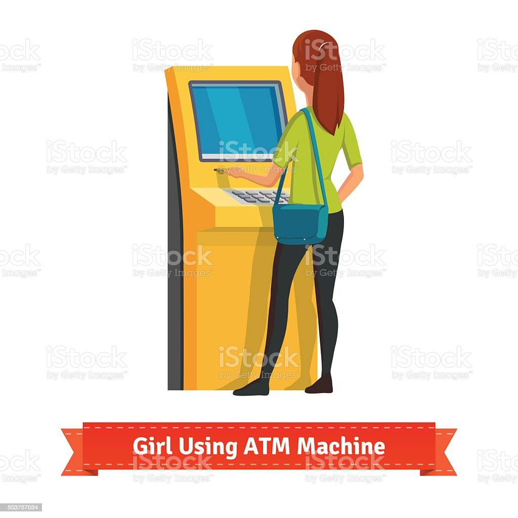 Girl at ATM machine doing deposit or withdrawal vector art illustration