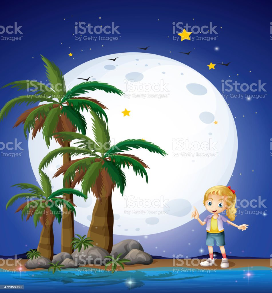 Girl at beach under the bright fullmoon royalty-free girl at beach under the bright fullmoon stock vector art & more images of adult