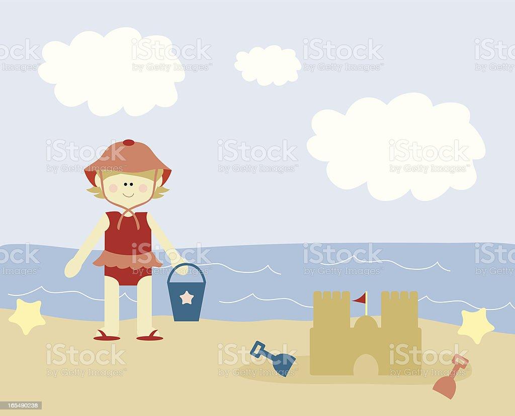 Menina na praia - Royalty-free 12-15 Meses arte vetorial