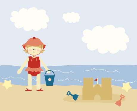 Menina Na Praia - Arte vetorial de stock e mais imagens de 12-15 Meses