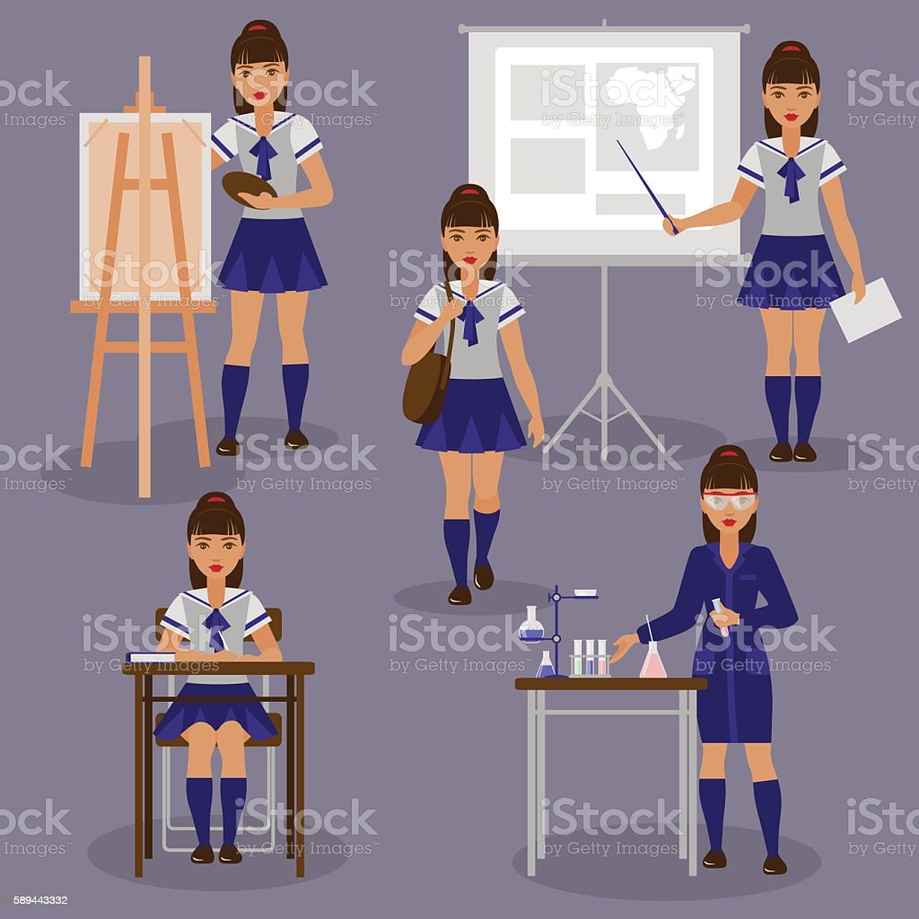 Girl at school set vector art illustration
