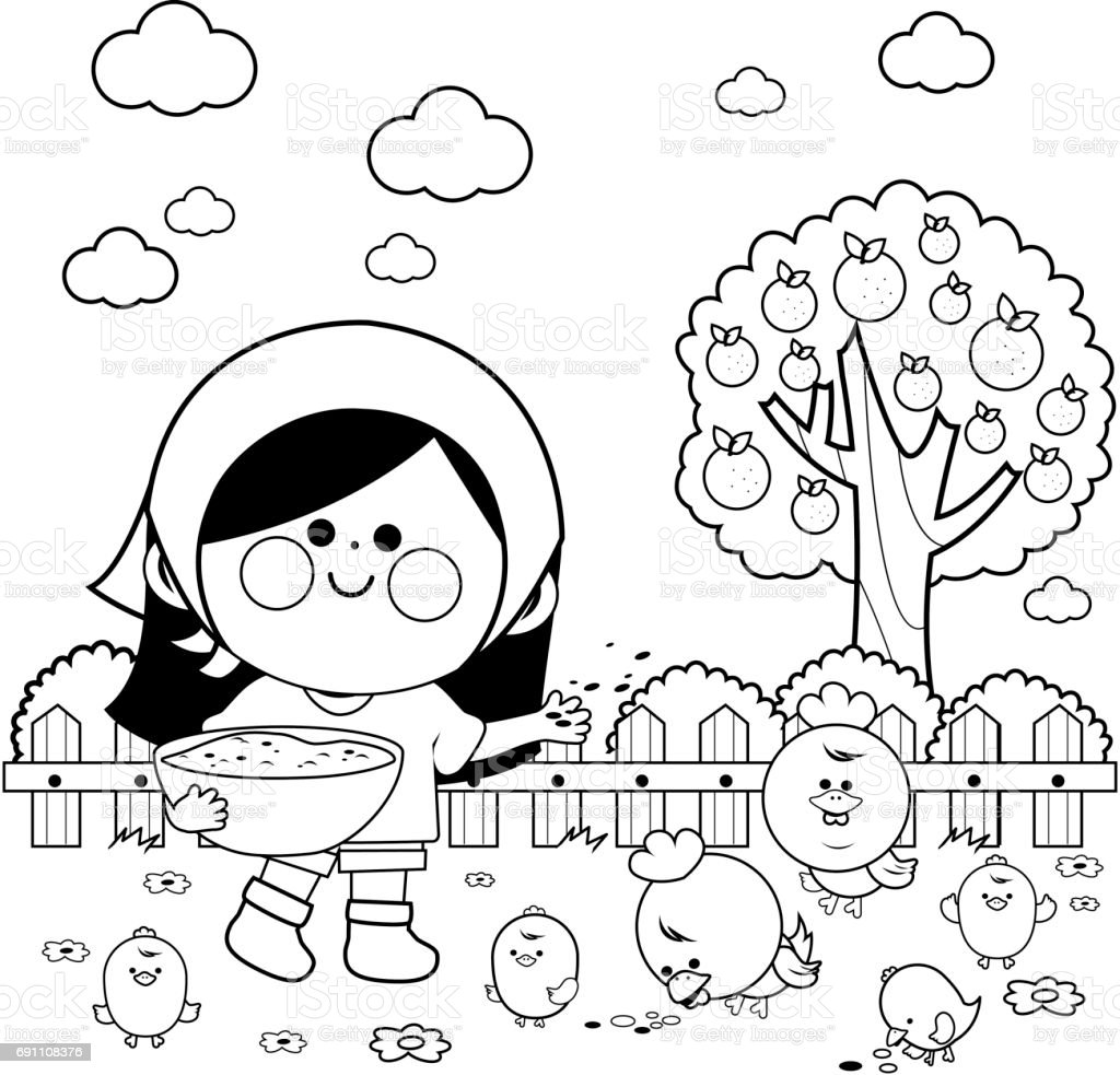 Girl at the farm feeding the chickens. Coloring book page vector art illustration