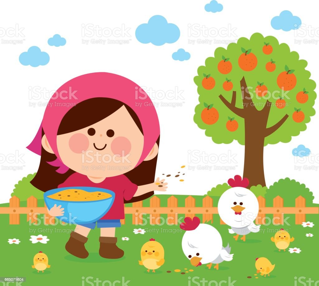 Girl at the farm feeding the chickens vector art illustration