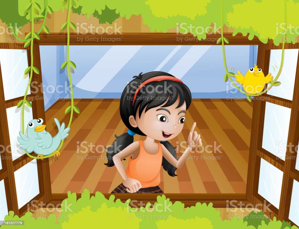 girl at the window with birds royalty-free stock vector art