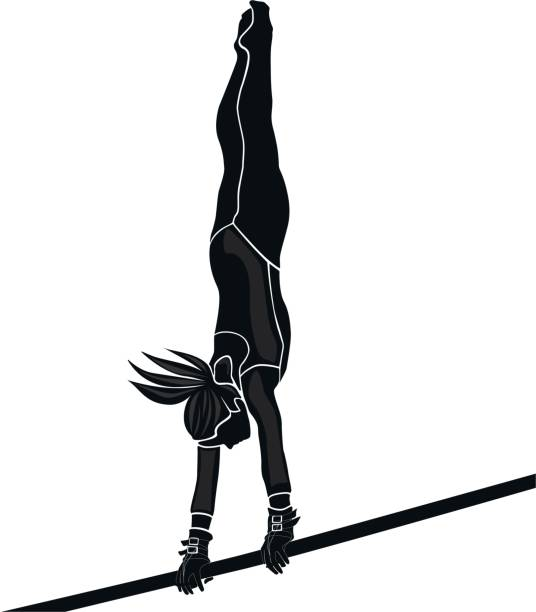 girl athlete gymnast - gymnastics stock illustrations, clip art, cartoons, & icons