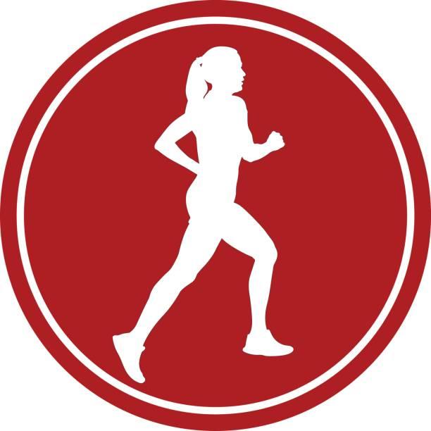 bildbanksillustrationer, clip art samt tecknat material och ikoner med flicka idrottsman löpare kör - jogging hill