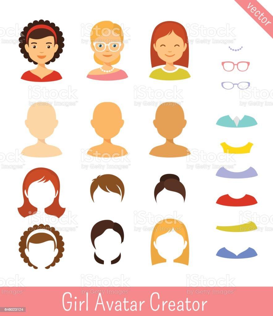 girl avatar creator and female avatars set stock vector art more rh istockphoto com vector creator free vector creator software