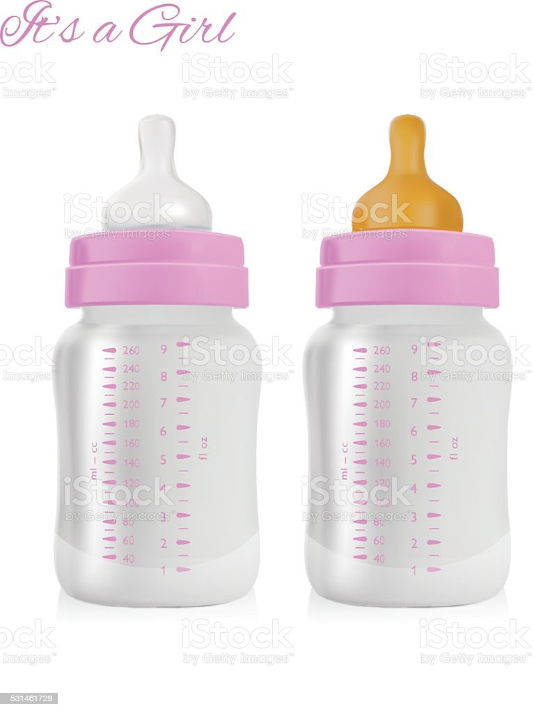 Girl Baby Bottle vector art illustration