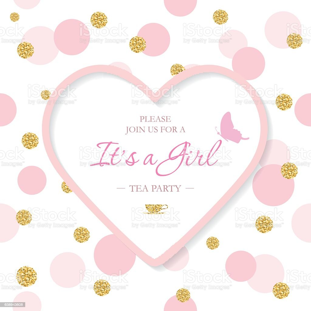 Girl Baby Shower Invitation Template Included Laser Cutout Heart - Baby shower invite template