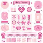 Girl baby shower set of elements for design.