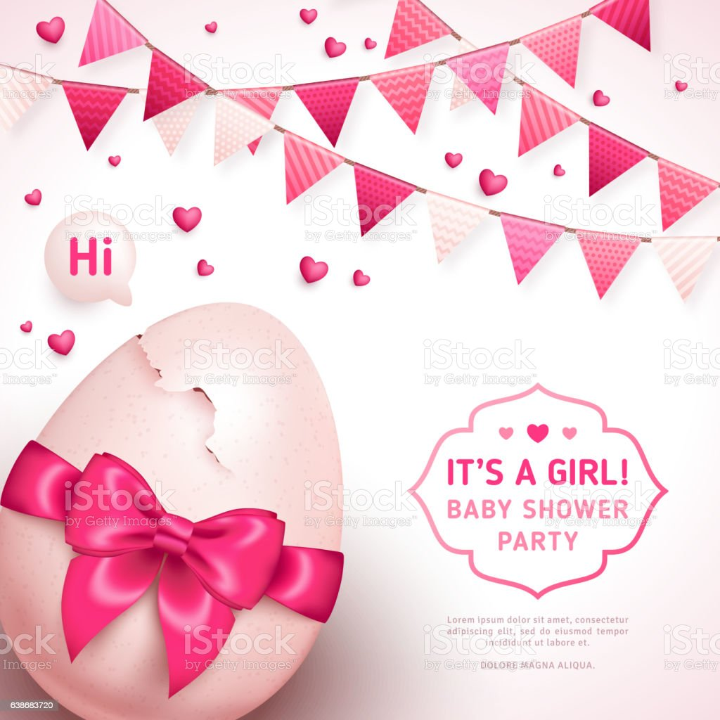Girl baby shower with pink bow and cracked egg vector art illustration