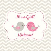 Girl baby shower with two cute pink birds on abstract chevron background, vector illustration, eps 10