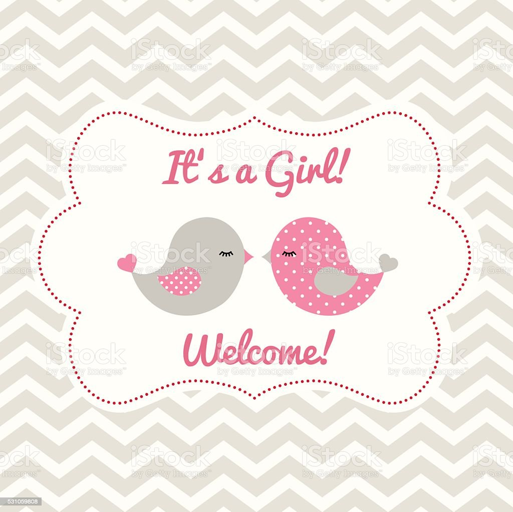 Girl baby shower with two cute birds, illustration vector art illustration