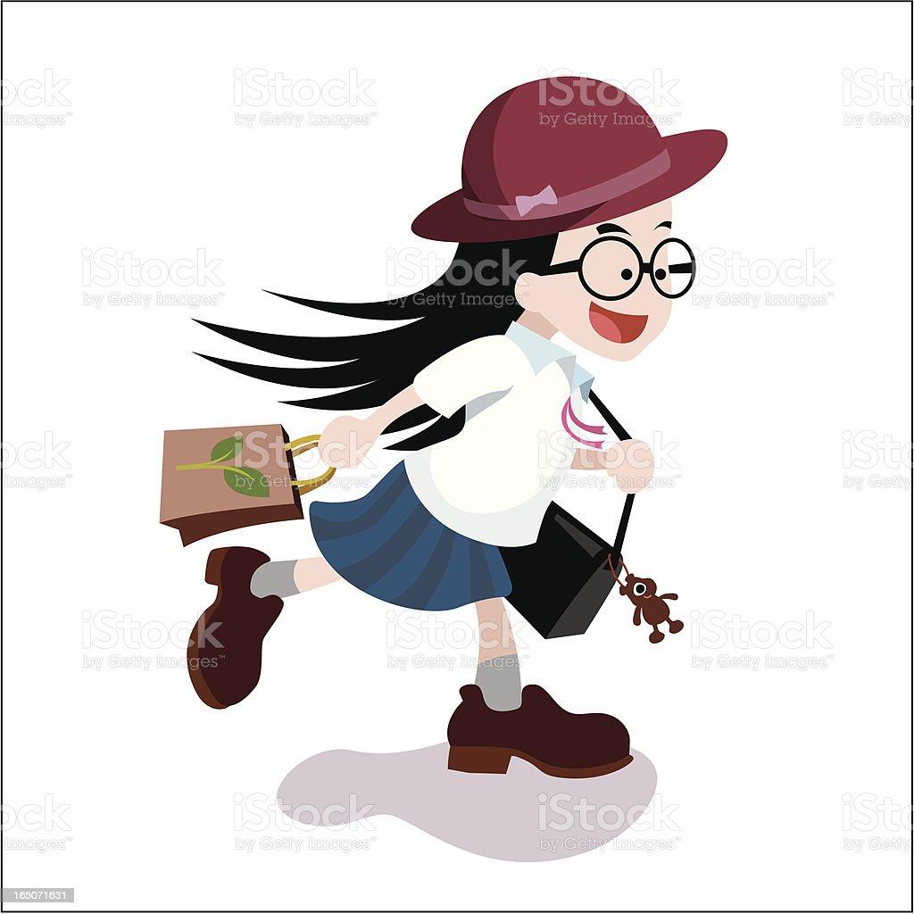 girl back to school vector art illustration