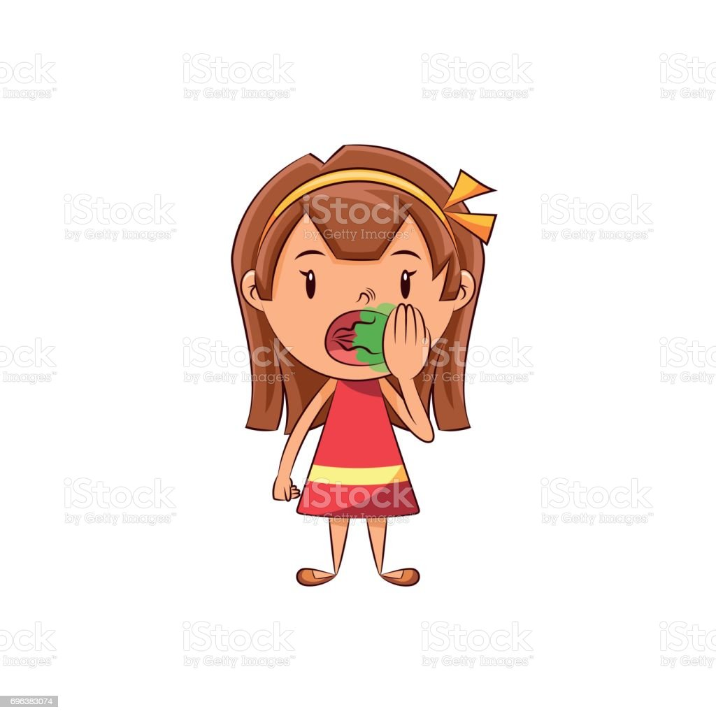 Girl bad breath vector art illustration