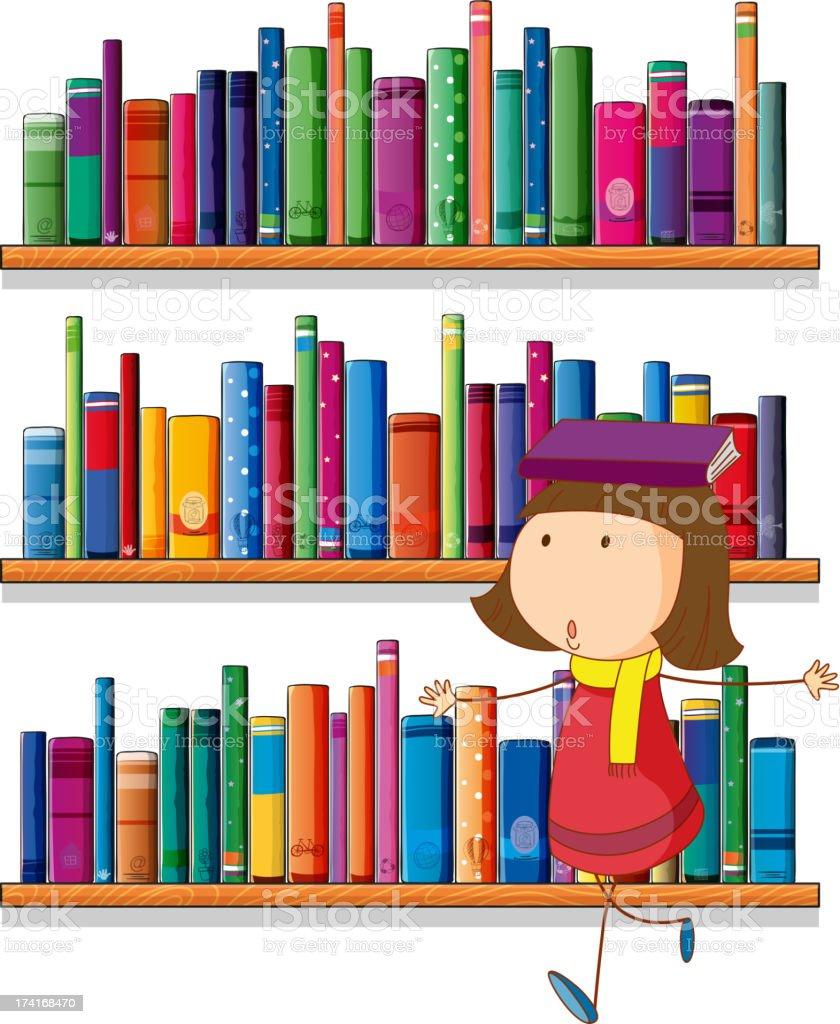 Girl Balancing A Book Above Her Head Royalty Free Stock Vector Art