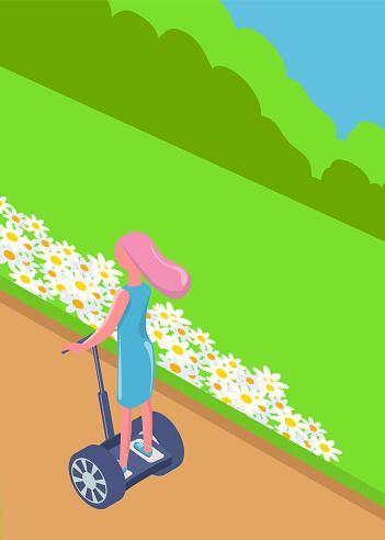 Girl Balancing on Segway, Eco Transport Vector