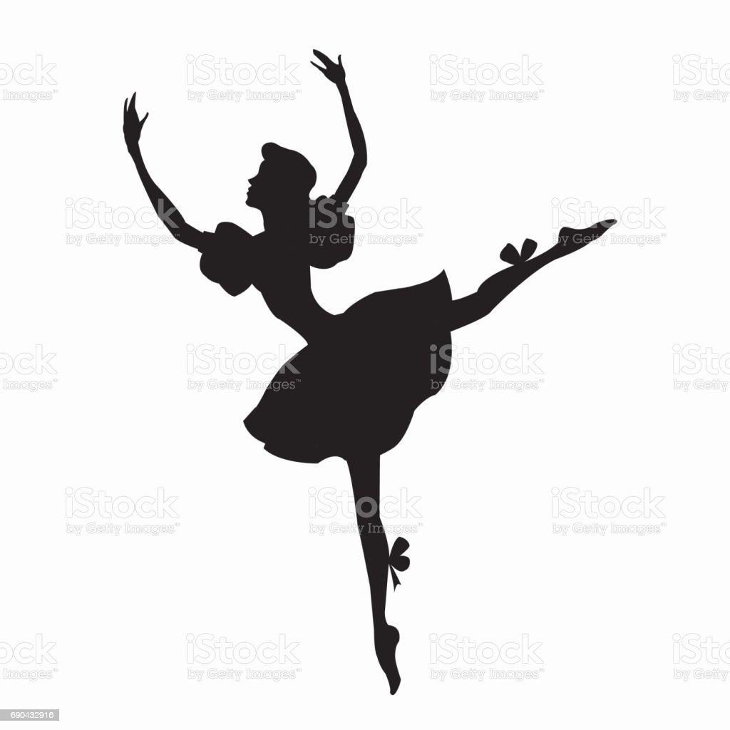 Girl ballerina silhouette 벡터 아트 일러스트