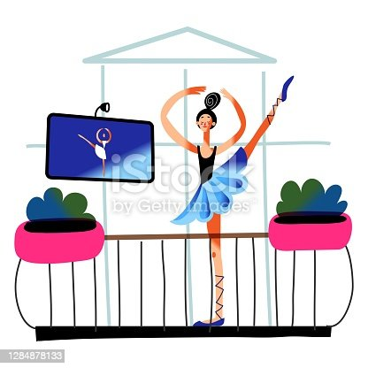 istock Girl ballet dancing at home on balcony. Happy young woman dances in house, repeating after computer monitor. Relaxing hobby vector illustration. City modern apartment view from street 1284878133