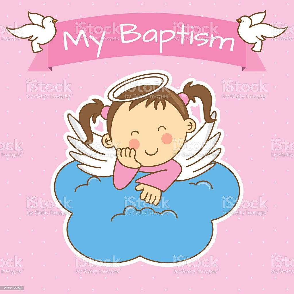 girl baptism vector art illustration