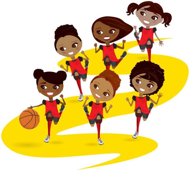 Girl Basketball Players, African Americans vector art illustration