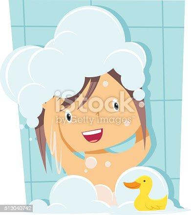 Girl bathing