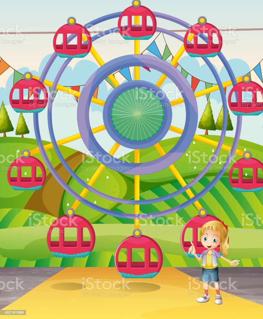 Girl below the ferris wheel royalty-free stock vector art