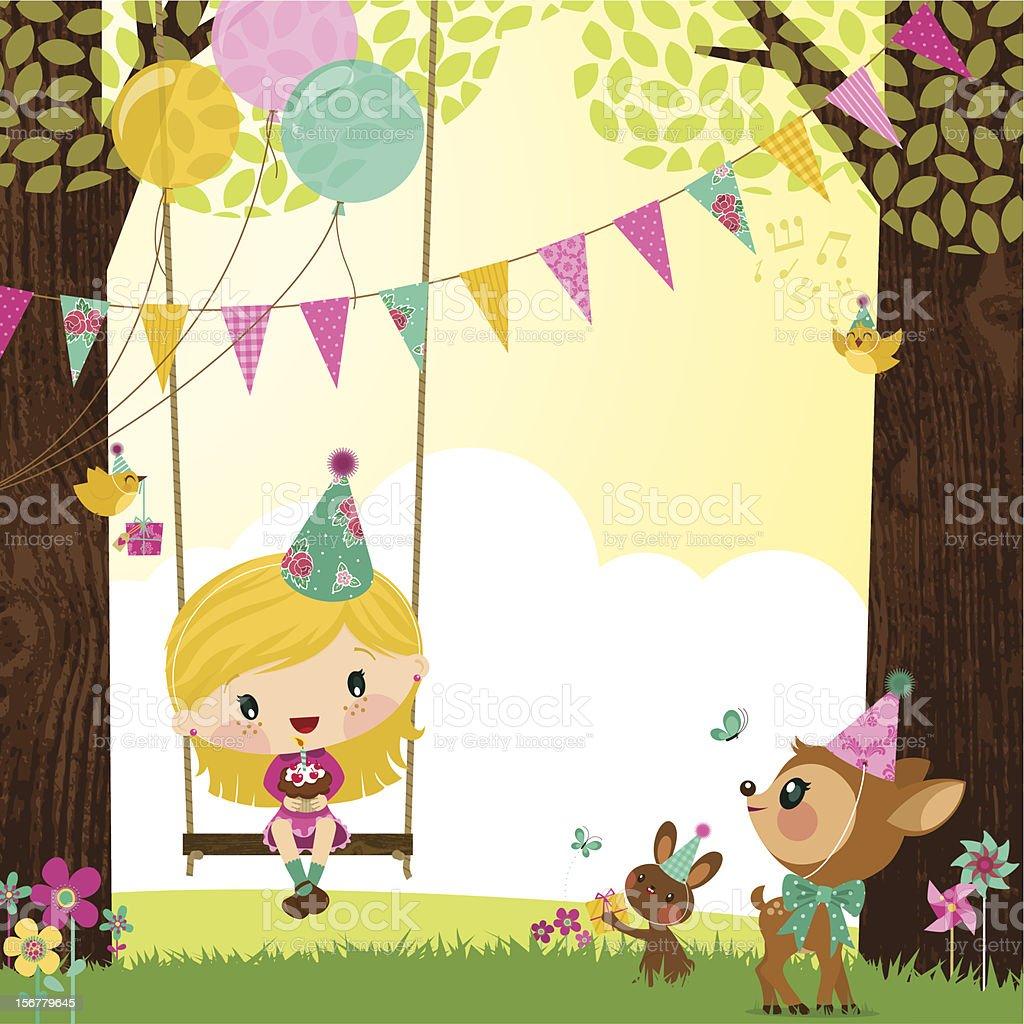 Girl birthday vector art illustration