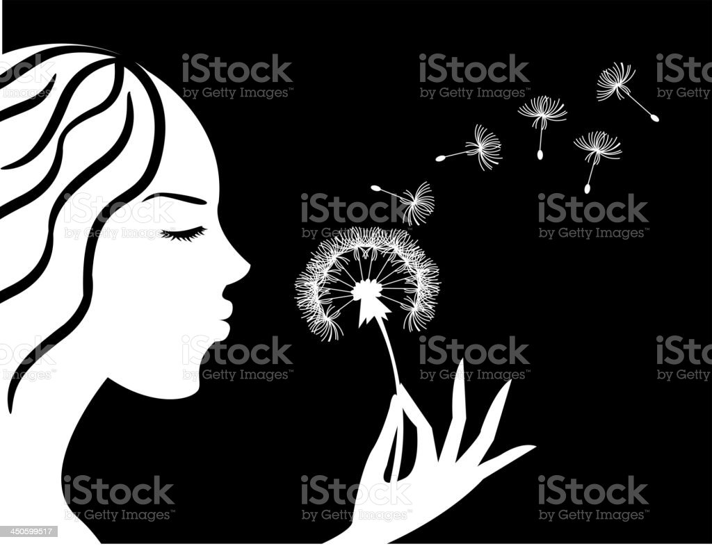 girl blowing a dandelion royalty-free girl blowing a dandelion stock vector art & more images of adult