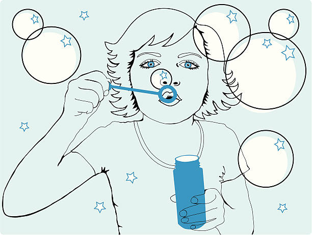 Girl blowing bubbles and stars vector art illustration