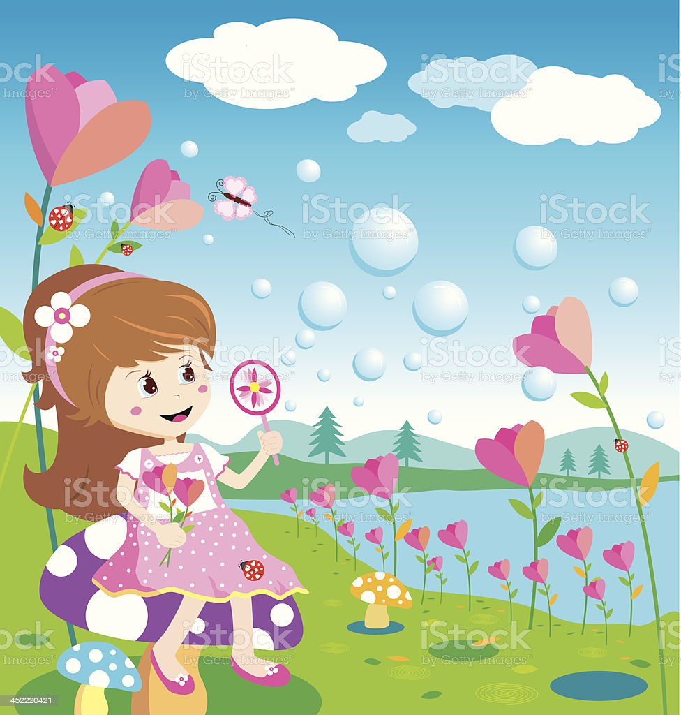 Girl blowing bubbles in the flowers garden royalty-free stock vector art