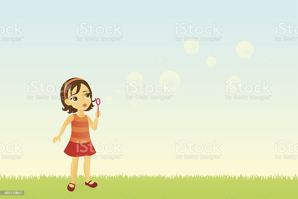 Girl Blowing Bubbles royalty-free stock vector art