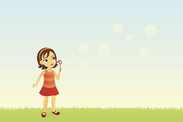 Girl Blowing Bubbles vector art illustration