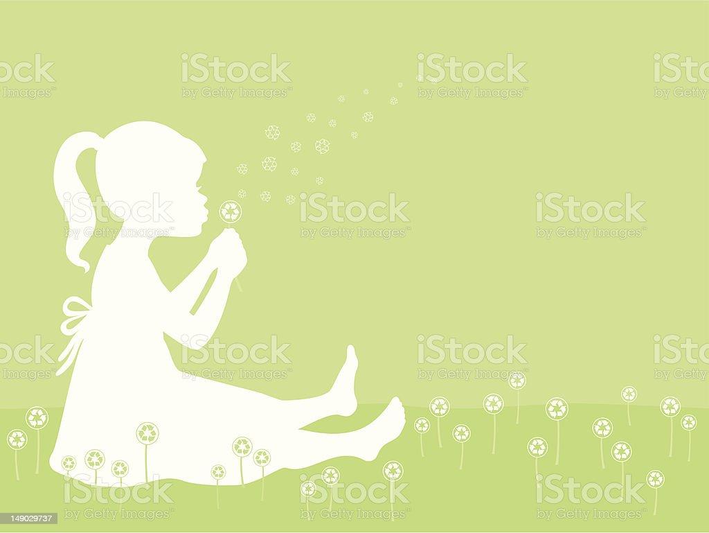 Girl Blowing Recycle Symbol Dandelion royalty-free stock vector art