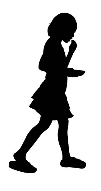 Girl body silhouette vector Girl body silhouette vector hungry child stock illustrations